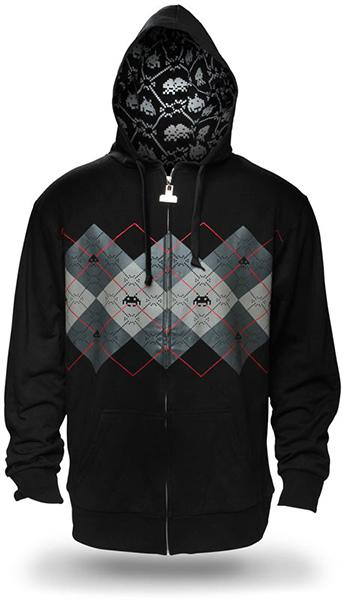 argyle space invaders hoodie