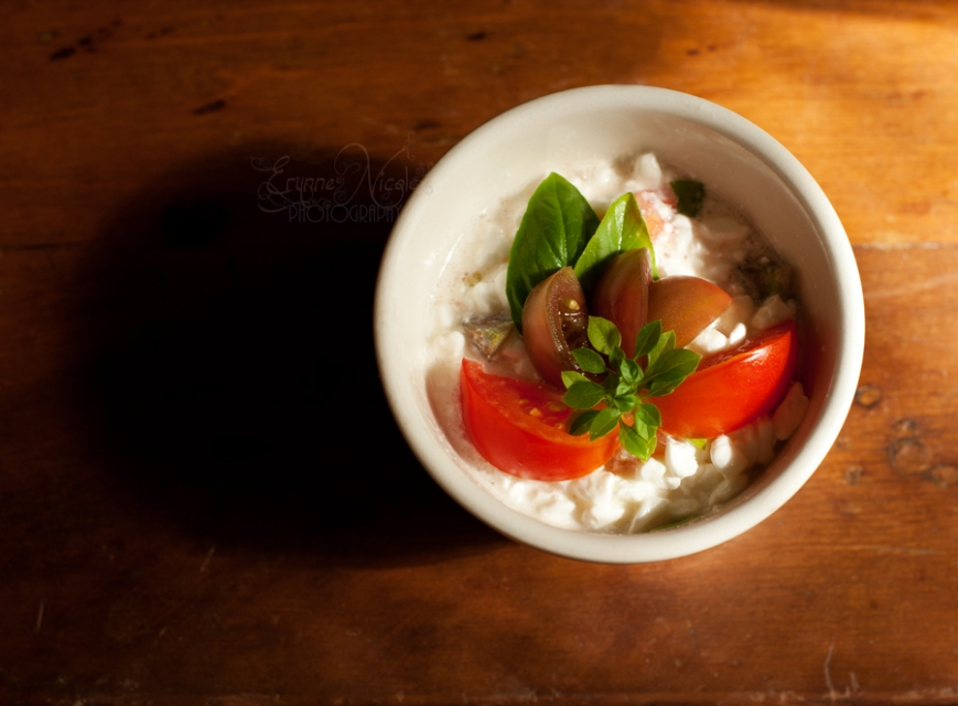 basil tomatoes cottage cheese